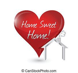home sweet home heart illustration design