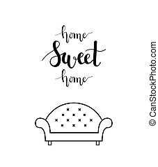 Home sweet home lettering in a living room