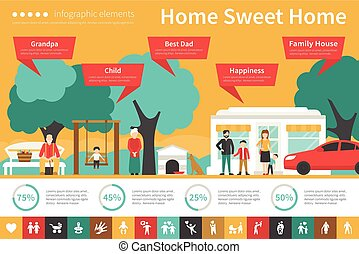 Home Sweet infographic flat vector illustration....