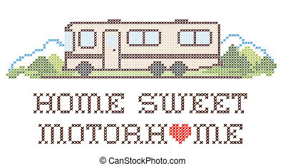 Home Sweet Motor home with a big heart, cross stitch needlework sewing design, Class A model recreational vehicle in landscape, road and mountains, isolated on white background. EPS8.