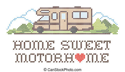 Home Sweet Motor home with a big heart, cross stitch needlework sewing design, Class C model recreational vehicle in landscape, road and mountains, isolated on white background. EPS8.