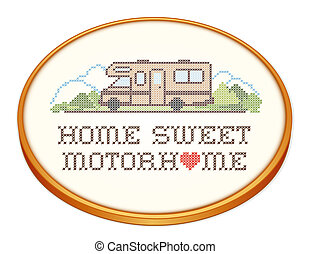 Home Sweet Motor home with a big heart, retro wood embroidery hoop with cross stitch needlework sewing design, Class C model recreational vehicle in landscape, road and mountains, isolated on white background. EPS8.