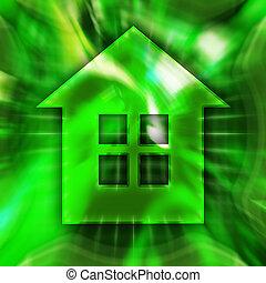 Home Symbol - Green home symbol conceptual illustration