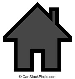 Home symbol icon - black simple with outline, isolated - vector