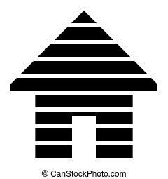 Home symbol icon - black striped, isolated - vector