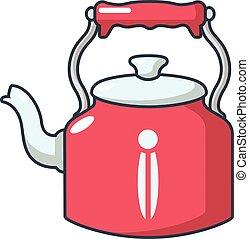 Home teapot icon, cartoon style