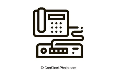 Home Telephone and Video Recorder Connection Icon Animation. black Home Telephone and Video Recorder Connection animated icon on white background