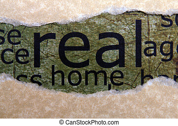 Home text on torn paper