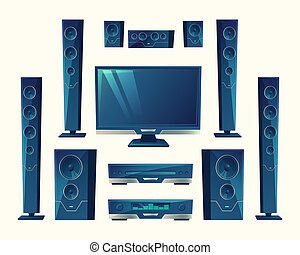 home theater, acoustic equipment, stereo technology.