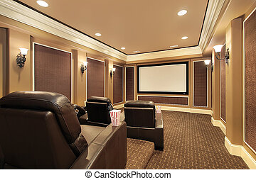 Home theater in upscale house - Home theater in luxury house...