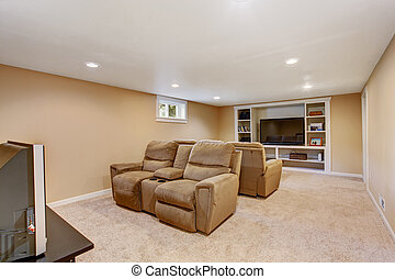 Home theater interior in soft brown color
