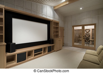 home theater with wine tasting room, big screen, wood...