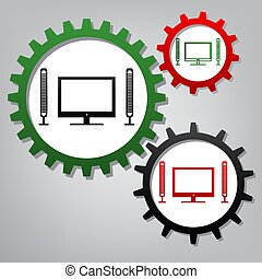 Home theater sign. Vector. Three connected gears with icons at g