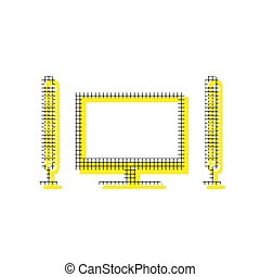 Home theater sign. Vector. Yellow icon with square pattern duplicate at white background. Isolated.