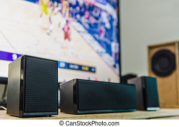 Home theater speakers and flat screen tv