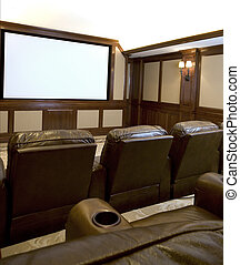 home theater - home theatre in a mansion with custom...