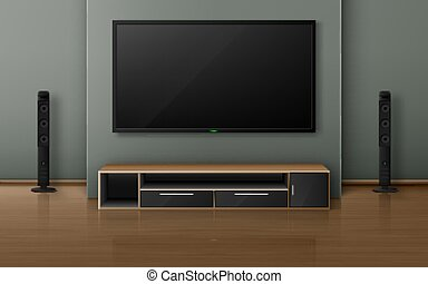 Home theater with tv screen and speakers