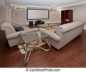 Home theatre - Basement home theater in new luxury house