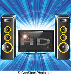 Illustration, television set and music rows on blue background
