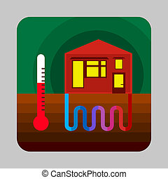 Home thermal energy concept background, cartoon style