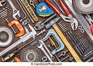 Working tools for metal. Men's style. The concept of Father's Day and other men's holidays.