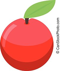 Home training red apple icon, isometric style