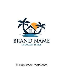 Home Travel Beach Sun Logo Design