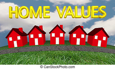 Home Values Houses For Sale Real Estate Estimates 3d Illustration