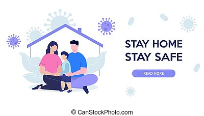 home., vecteur, quarantine., séjour, famille, maman, coronavirus, son., papa