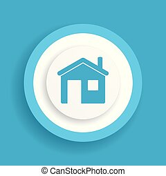 home vector blue icon, house sign