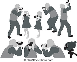 the grey silhouettes of adult man and little girl shooting home video