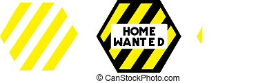 HOME WANTED stamp on white background