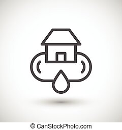 Home water supply system line icon isolated on grey. Vector...
