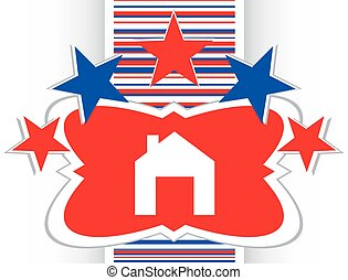 Home web icon, house sign on button vector