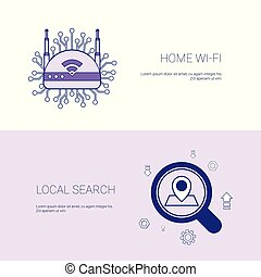 Home Wifi And Local Search Concept Template Web Banner With Copy Space