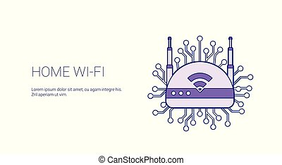 Home Wifi Wireless Internet Connection Template Web Banner With Copy Space