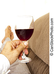 home with a glass of wine