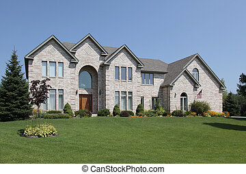 Home with arched entry - Large suburban home with arched...