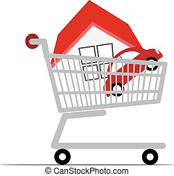 Home with car in a shopping cart.