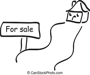 Home with for sale sign