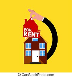 Home With  Hand Real Estate Rental Conceptual Vector Illustration