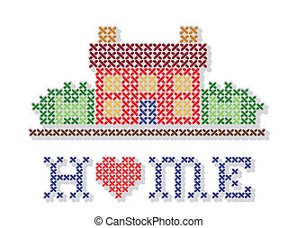 Retro cross stitch needlework design, Home with a big red heart, needlework house in landscape graphic, isolated on white background. EPS8 compatible.