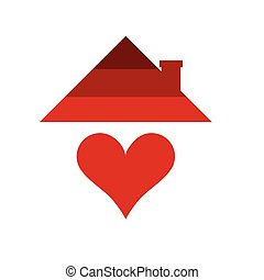 home with heart in red color illustration
