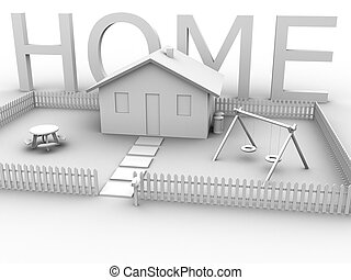 Home with House 2 - 3d rendered image of a house with lawn, ...