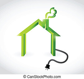home with plugging cable illustration design over a white background