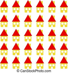 Home with red roof on white background. Housing.