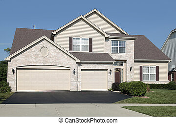 Home with three car garage