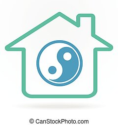 home with yin-yang symbol