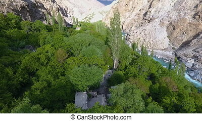 Home Within Trees, Mountain and River - Drone, exterior,...
