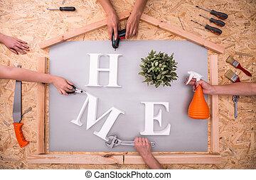 Home word on hardboard - Picture of home word on hardboard...